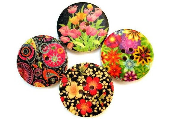 SALE-24 Wood buttons, 4 kinds, beautiful flowers colorful pictures ornaments, 30mm