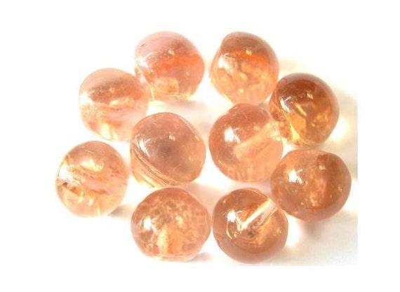 10 Vintage glass buttons, peach color, translucent 10mm