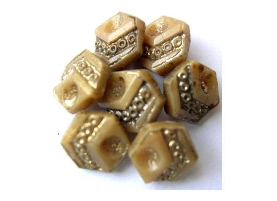 16 Buttons, antique, vintage, light brown to cream glass with gold color trim, hexagon shape 8mm