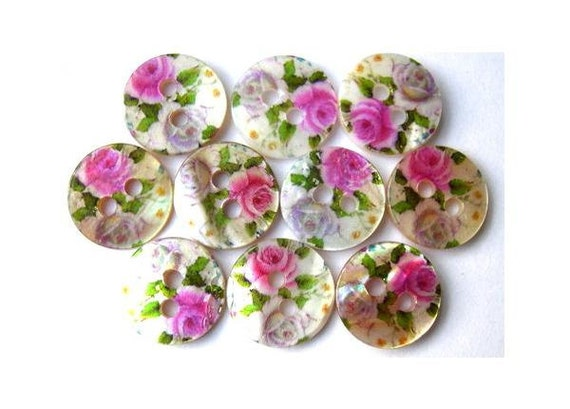 10 Shell buttons, rose pink flowers ornament, printed, for sewing, button jewelry, crafts 11.5mm