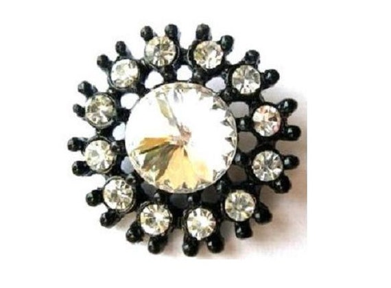 Flower button clear rhinestone button jewelry black color metal, 24mm