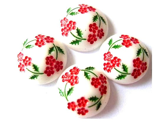 RESERVED to Maymana-14 Vintage cabochon  porcelain glass red flowers green leaves 14mm, 5mm height, japan