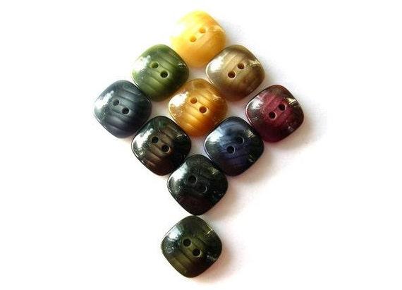 100 Buttons, 10 colors, vintage, square, 16mm, unique set