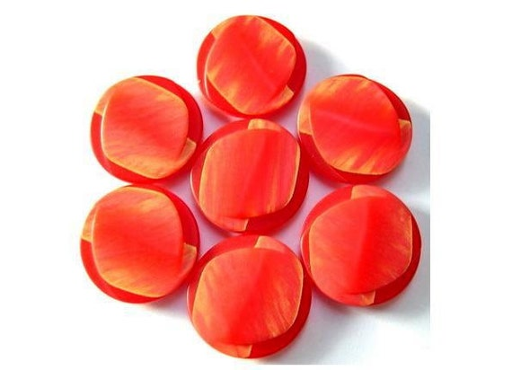 6 Buttons vintage beautiful red 23mm for  button jewelry, scrapbooking, crafts
