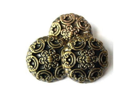 6 Vintage buttons, etched flowers bronze color plastic 22mm