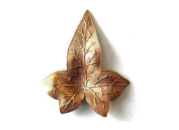 VINTAGE metal leaf shape stamping  cooper metal findings, RARE