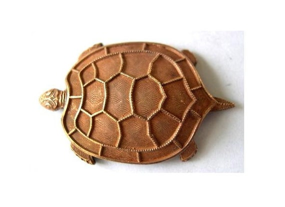 Water turtle vintage metal stamping animals made of copper