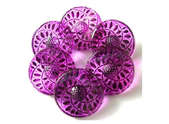 6 Vintage buttons flower shape hand painted in violet CRYSTAL czech 18mm, for button jewelry