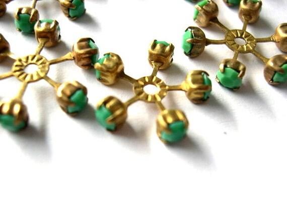 2 swarovski vintage flower shape brass