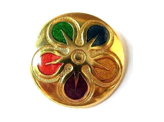 Vintage metal button  flower ornament 28mm