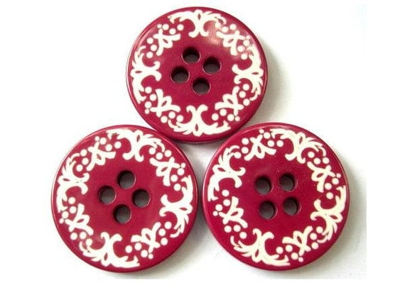 6 Plastic buttons pink with white ornament 34mm NEW BUTTONS