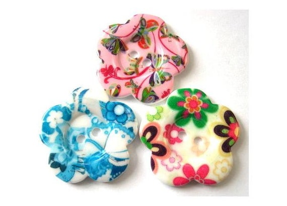3 Flowers buttons, 3 colorful buttons,  new buttons 33mm
