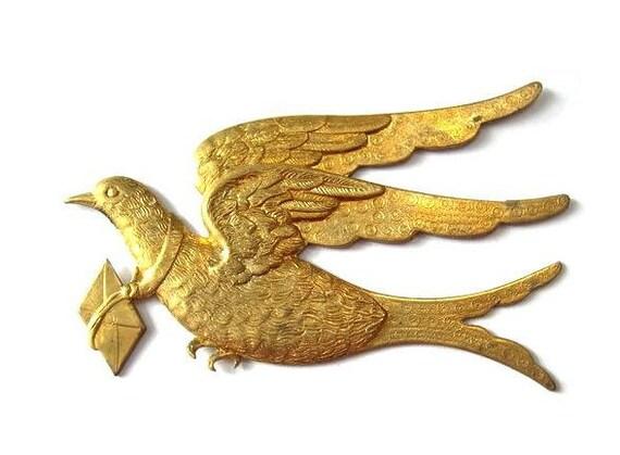 Vintage carrier pigeon bird metal stamping findings LARGE, RARE