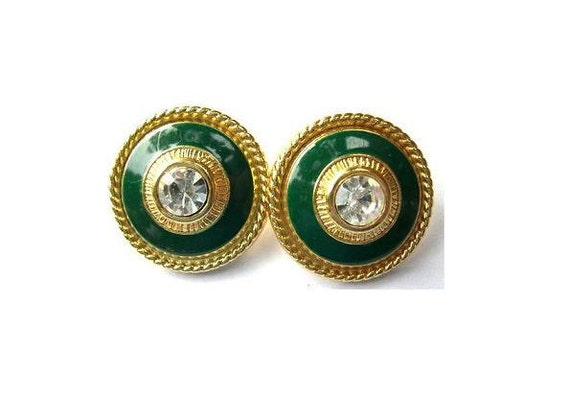 2 Vintage metal buttons, green enamel with clear rhinestone on gold color metal 23mm