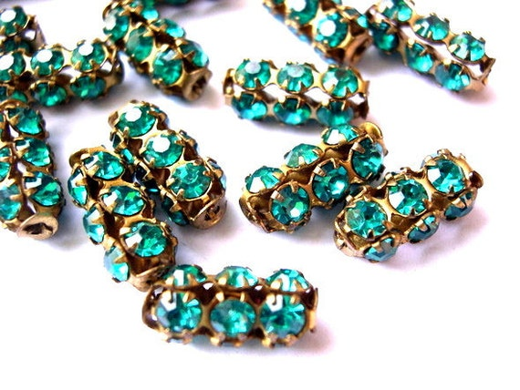RESERVED to Kathy Fisher-20 Vintage SWAROVSKI  beads turquoise rhinestones crystals in metal setting genuine 1100 made in Austria