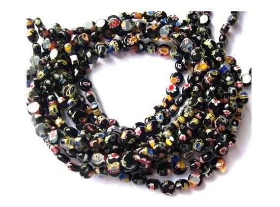 Millefiori glass beads 8mm flat round 1 strand about 50 beads black, 8mm