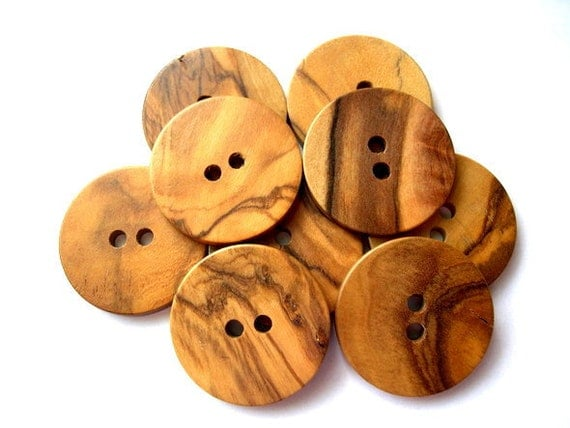 6 Wood buttons made of OLIVE TREE in Bethlehem, Holy Land 30mm