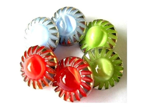 6 Buttons, Moonglow antique vintage flower glass red, green, blue with silver color buttons,13mm