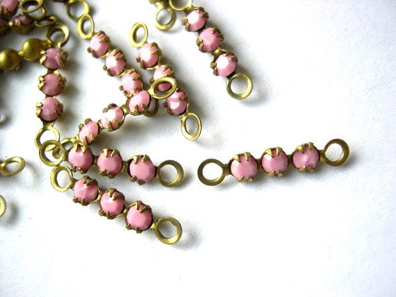 6 Vintage Swarovski crystal connector beads, 3 opaque pink rhinestones in brass setting- RARE