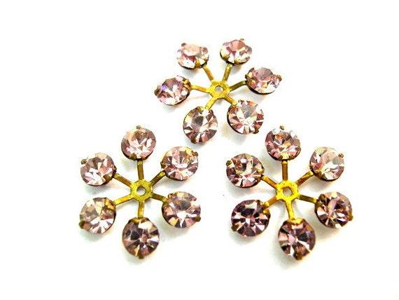 6 Vintage SWAROVSKI beads brass setting flower with light purple rhinestone crystals 17mm