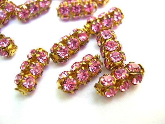 RESERVED to Kathy Fisher-15 Vintage SWAROVSKI  beads pink rhinestones crystals in metal setting genuine 1100 made in Austria
