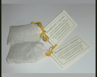 Sachet, Booklover's, stocking stuffer, moth repellant, two sachets, herbal products by margueritemanor