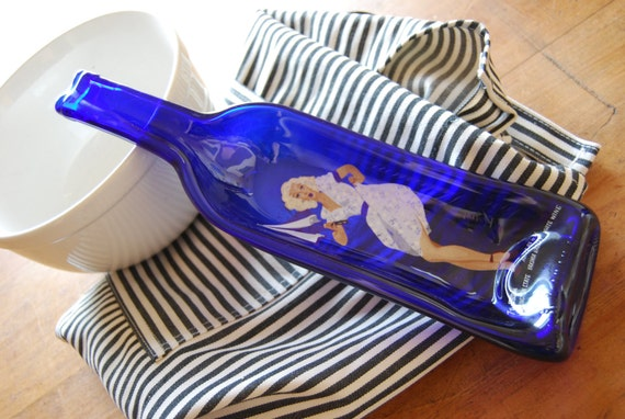 Cobalt blue Spoon Rest, melted wine bottle with painted woman