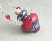 Elemental Fire --- Lampwork Poison Bottle Necklace