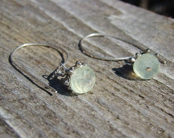 Moss --- Sterling Silver And Prehnite Earrings