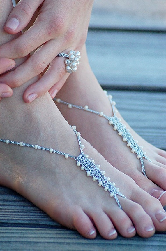 8 PAIRS Barefoot Sandals - CUSTOM PACKAGE - Foot Jewelry Slave Anklet Toe Ring Thongs Beach Destination Soleless Boho