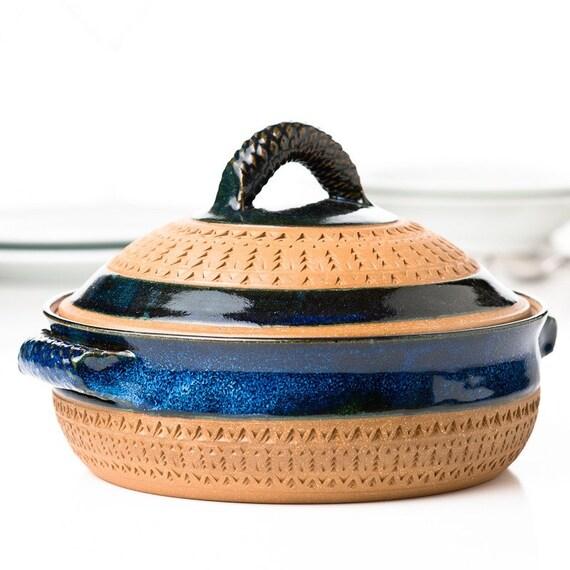 Blue 1 Quart Patterned Lidded Casserole - Reserved for eradshaw