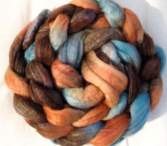 SALE - Handpainted Roving -- BFL Wool and Silk