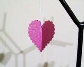One Dozen Valentine Hot Pink Heart Ornaments