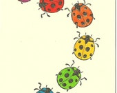 Hand Stamped Note Card - Rainbow Ladybugs