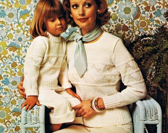 Vintage 70s Hand Knitting Pattern for a Sweater for Children or Women