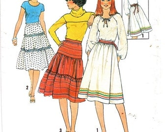 1977 Vintage Layered Ruffled Peasant Skirt Pattern Size 14 Medium Simplicity 8076