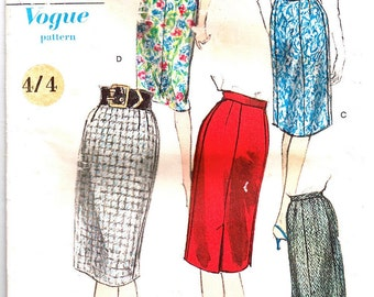 Vintage 1950s Pencil Skirt Sewing Pattern 25 inch waist Vogue 5588