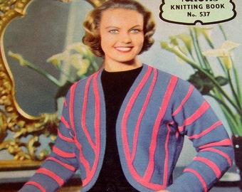 Vintage 1950s hand Knitting Patterns Stylish Womens