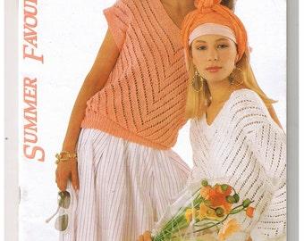 Vintage 1980s Cool Knitting patterns Summer Tops Ten ladies Styles