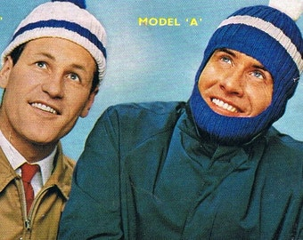 Vintage Men's Caps and Hats Hand Knitting Patterns 1950s