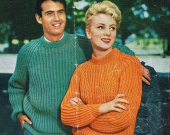 Vintage 1950s hand Knitting Patterns Family Style
