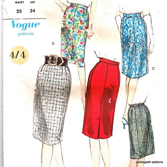vintage 1950s pencil skirt sewing pattern 25 inch waist vogue