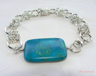 Variscite Sterling Chain maille  bracelet