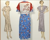 Flower of the East - 1940's style rayon dress - Women's size 12