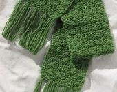 SALE --  Crochet Scarf Avacado Green  -- 25 PERCENT OFF
