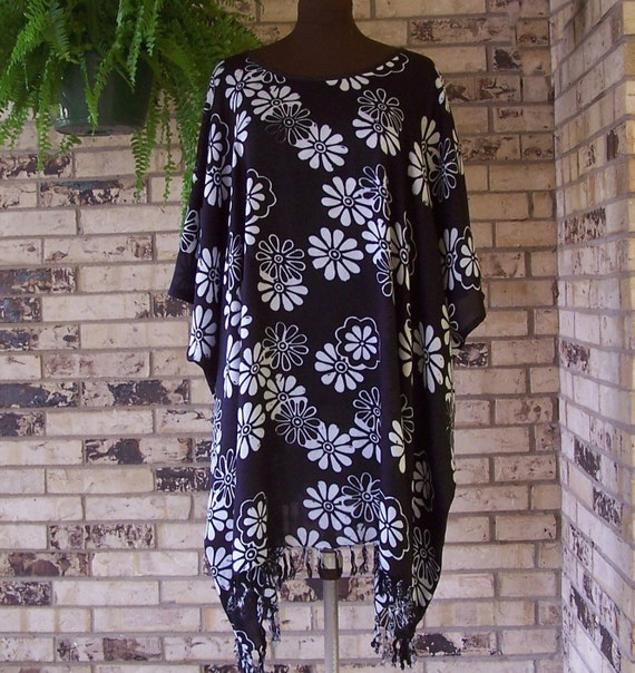Plus Size Tunic Black and White Rayon