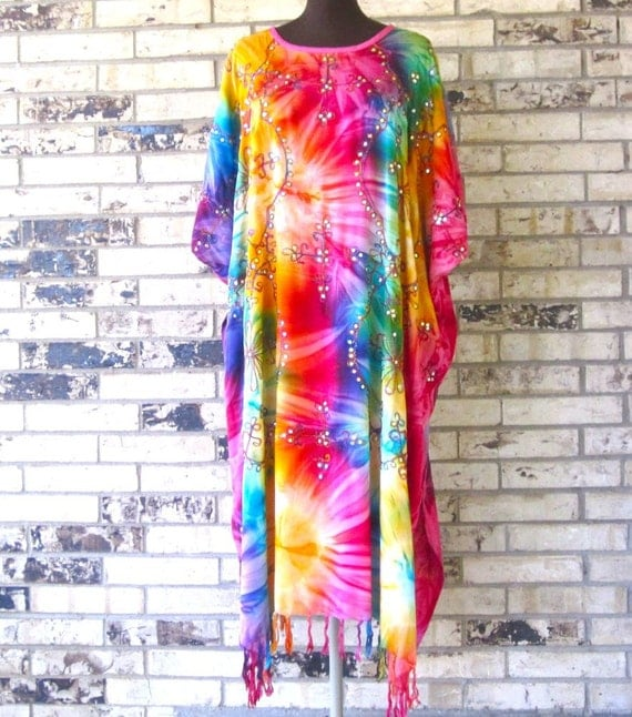 Plus Size Tie Dye Sequined Caftan- RESERVED FOR JANET