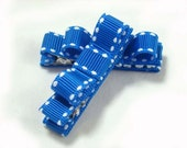 Royal Blue and White No Slip Grip Hair Clips Set