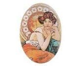 Art Nouveau ALPHONSE MUCHA lady Porcelain Cabochon findings supply