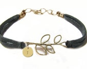Initial Leaf Bracelet Hand Stamped Wire Wrapped Black Leather Suede Bronze Leave bracelet Jewelry